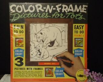 Coloring Book Vintage Animal OR Western Set Pictures for Tots Color n Frame