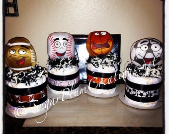Sports Diaper Cake Minis- Basketball, Baseball, Soccer ball, Football, sports party centerpieces, decorations/sports baby shower decorations