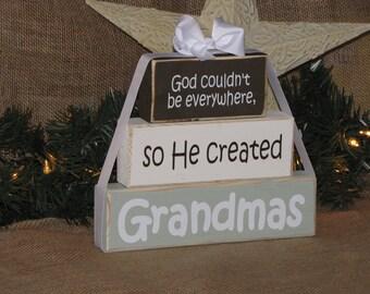 """Pregnancy Announcement. Gift for Grandma. Wood Block Stack: """"God couldn't be everywhere, so He created Grandma"""" - Grandma, Nana"""