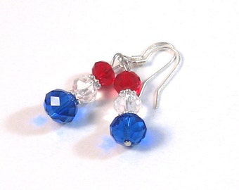 Red, Clear & Blue Czech Crystal Dangle earrings, Patriotic Jewelry, 4th of July Jewelry, Fourth of July Jewelry, London, Summer Fashion