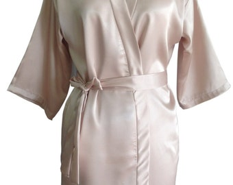 SALE Beige Bridesmaids Robe | Kimono Crossover Robes Spa Wrap Perfect bridesmaids gift, getting ready robe, Bridal shower party favors