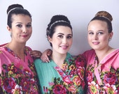 Bridesmaids Robe set of 9 - Kimono Robe, Perfect bridesmaids Gift, Cotton Floral Print Bath Robes, Getting ready robe