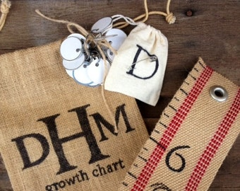 Handmade (Personalized) Jute Webbing Child Growth Chart with burlap bag