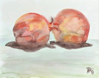 "Watercolor fruit painting, original still life. Pomegranate pair. Red, rust, brown, yellow, mustard 7.5""x9"""
