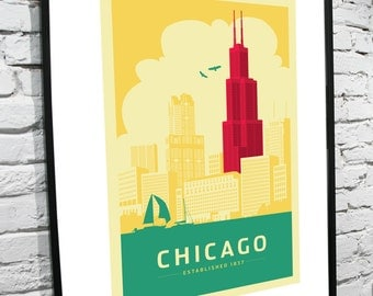Chicago Skyline 11x14 Poster