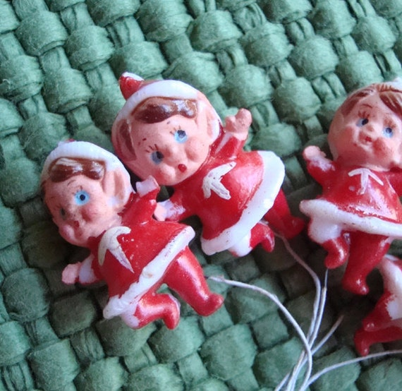 Vintage Christmas Millinery Elves with Wire Stems
