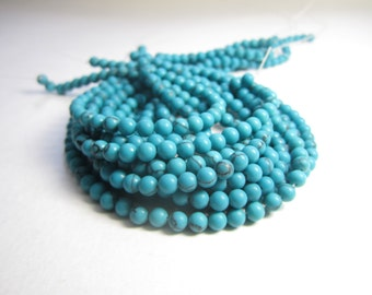 "4mm Turquoise howlite beads - 16"" strand of dyed howlite beads - turquoise beads, small turquoise howlite, Boho jewelry supplies, turquoise"