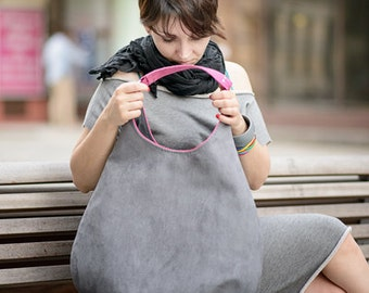grey PLUS - shoulder hobo bag, intensely colored tote bag