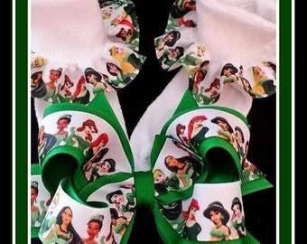 Disney Princess Hair Bow...Irish Princess Hair Bow..St Patrick Disney Princess...Irish Hair Bow...St Patricks Day Hair Bow....