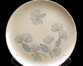 3 Marcrest Stetson Blue Spruce Dinner Plates with Blue and Gray Pine Cones Vintage 1950s Set of 3