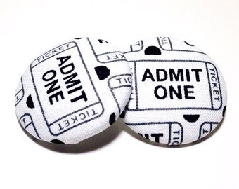 Oversized Admit One Movie Ticket Print Button Earrings