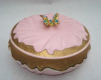 Vintage Ceramic Storage Box Pink Metallic Gold Sparkly Butterfly Ceramic Circular Jewelry Box