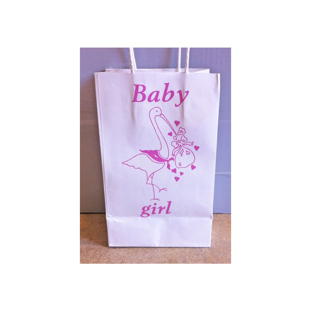 Baby shower gift bag girl or boy stork bags by