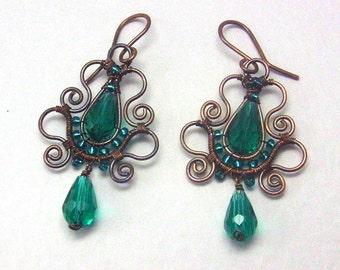 Emerald Teardrop Copper Earrings, Soutache Styled Wire Wrapped Jewelry