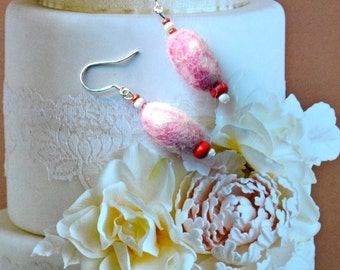 A Set of Needle Felted Felt Pebbles Earrings