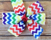 Rainbow Chevron Hair Bow - Rainbow Hair Clip