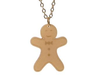 Gingerbread Man necklace - laser cut acrylic