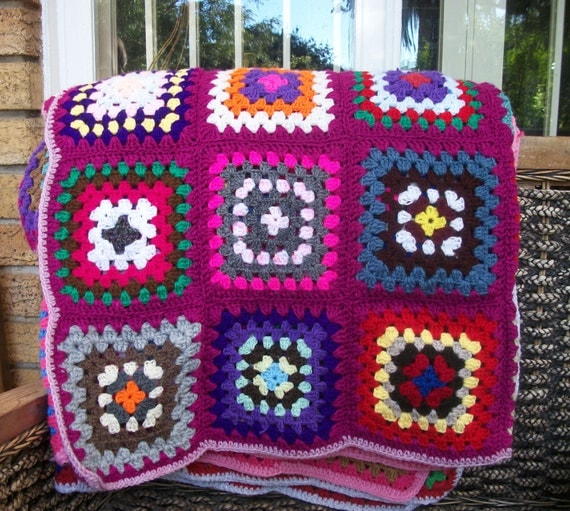 Crochet Granny Square Rug Patterns : Blanket crochet granny square knee rug afghan by JamTartsSA