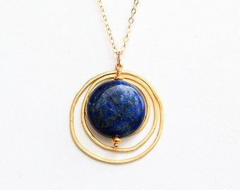 Blue Moon - Lapis and Gold Pendant on Gold Filled Chain - Lapis Lazuli, Boho, Circle Necklace, Stone Jewelry, Navy Stone Necklace