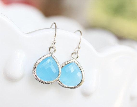Aqua Drops Earrings in Silver - Sterling Silver - Bridesmaids Earrings - Blue Drop Earrings, Aqua Ocean Blue Jewelry
