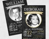 MILESTONE BIRTHDAY INVITATIONS - Chalkboard Party Design - Any Age, Any Color w/ Photo (printable) First, 1st, 40th, 50th, 60th