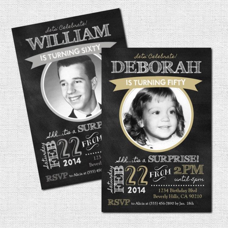 MILESTONE BIRTHDAY INVITATIONS Chalkboard Party Design Any