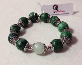 Green Jasper & New Jade Gemstone beaded Bracelet SALE