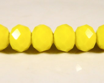 Yellow Rondelle Crystal Beads 8x6mm (6x8mm) Opaque Yellow Faceted Chinese Crystal Glass Abacus Beads on an 8 Inch Strand with 35 Beads