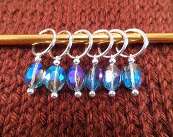 Iridescent Blue Glass Stitch Markers Set of 6