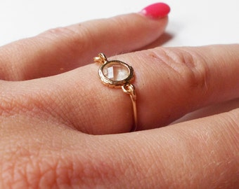 Simple Clear Stone Ring - Gold Ring