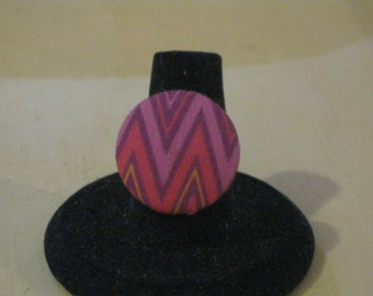 Purple and Pink Chevron Print Fabric Covered Button Antique Brass Adjustable Ring