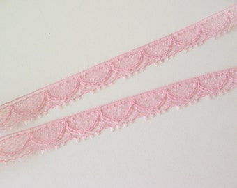 "8 yards pink lace trim 5/16"" wide"