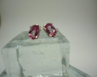 Oval Cut Pink Topaz Earrings in Sterling Silver