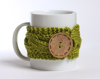 Coffee cozy, Tea cup, Knitted mug cozy, tea cup cozy,  coffee sleeve, green lime, warmer