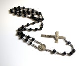 Sterling Silver Black Beaded Rosary