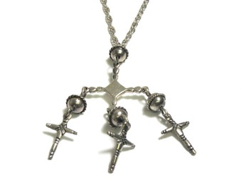 Sterling Silver Heavy Necklace with Cross Pendants - Weight 43.1 Grams - Christian - Religious - Multiple Crosses # 1942