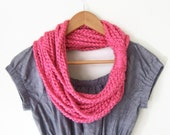 Neon Pink Scarf .. Knit Chain Scarf .. Scarf Necklace .. Hot Pink Scarf .. Bright Pink Scarf .. Knit Circle Scarf .. Eternity Scarf .. Gift - DottieQ