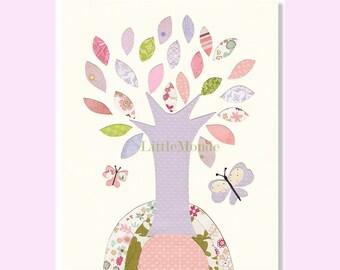 Baby Girl nursery Prints, Tree Nursery Print, Lavender Nursery, Pastel Nursery Art, Light Purple Nursery