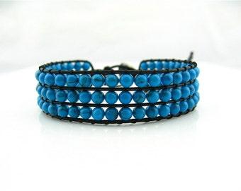 3 Row Turquoise Simulated Leather Bracelet