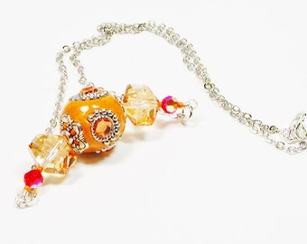 Peach Crystal Necklace, Chain and Bead Necklace, Orange Beaded Necklace