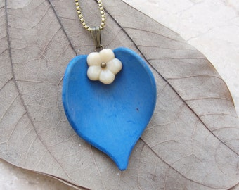 Blue White Leaf Necklace Resin and Glass Floral Jewelry