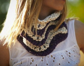 Purple and Beige Scarf with waves / Chunky Cowl tribal / Stripes Neckwarmer /  Tube Wrap with waves/ Under 50/ Gift europeanstreettean