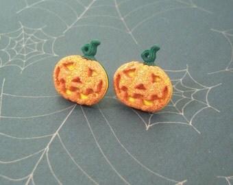 Glitter Pumpkin Earrings
