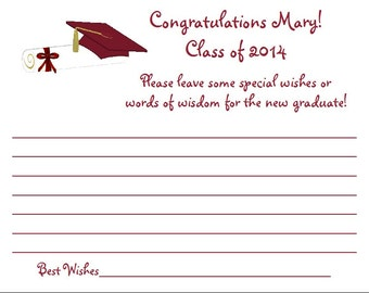 24 Personalized Class of 2016 GRADUATION Wish/Wisdom Cards