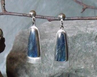 Kyanite Earrings, Silver Earrings, Post Earrings, Nickle Silver,