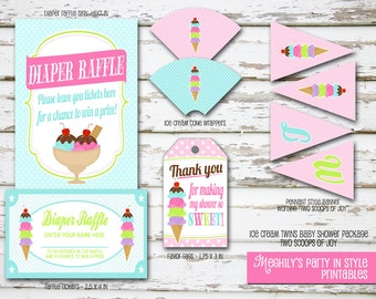 Twins Baby Shower - Ice Cream Mini Package - Instant Download