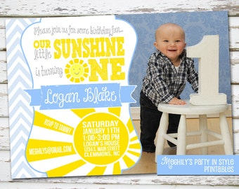 You Are My Sunshine - Blue Invitation with Photo