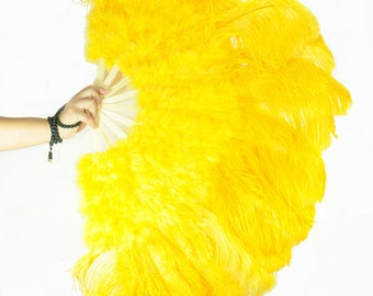 """27""""x 53"""" Golden Yellow Marabou & Ostrich Feathers Hand Fan With Bamboo Staves Burlesque Dance"""