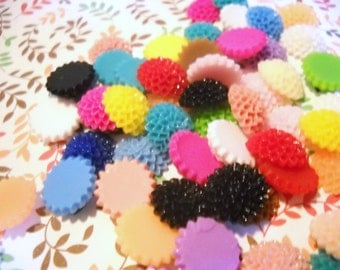 Flower Cabochons Mum Cabochons Chrysanthemum Resin Flowers Flat Backs Assorted Cabochons 15mm Flowers 10 pieces SAMPLE PREORDER