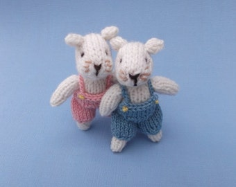Little twin mice, knitting pattern PDF